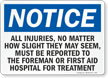 Injuries, No Matter How Slight, Report Sign