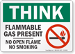Flammable Gas Present No Open Flame Think Sign