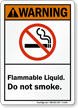 Flammable Liquid Do Not Smoke Warning Sign