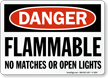Flammable No Matches OSHA Danger Sign