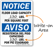 Notice Floor Load Capacity Bilingual Sign