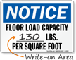Notice Floor Load Capacity Sign