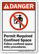 Follow Confined Space Entry Procedures ANSI Danger Sign