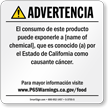 Custom Food Exposure Spanish Prop 65 Sign