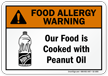 Food Is Cooked With Peanut Oil Allergy Sign