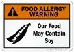 Food May Contain Soy Allergy Warning Sign