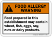 Food Prepared May Contain Allergy Warning Sign