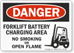 Forklift Battery Charging Area No Smoking Danger Sign