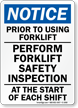 Notice Prior To Using Forklift Sign