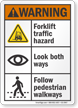 Forklift Traffic Hazard Look Both Ways ANSI Warning Sign