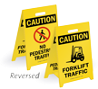 Caution Forklift Traffic No Pedestrian Traffic Floor Sign
