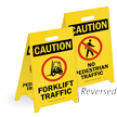 Caution Forklift Traffic Reversible Fold-Ups Floor Sign