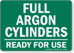 Full Argon Cylinders - Ready For Use Sign