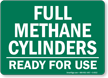 Full Methane Cylinders, Ready For Use Sign
