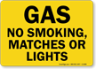 Gas No Smoking, Matches Or Lights Sign