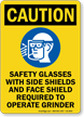 Safety Glasses With Side Shields Required Sign