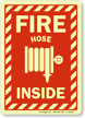 Projecting Door Fire Hose Inside Sign with Graphic