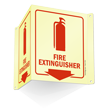 Glow-In-The-Dark Projecting Fire Extinguisher Sign onmouseover =