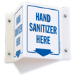 Hand Sanitizer Here Projecting Sign