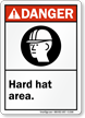 Danger (ANSI) Hard Hat Area Sign