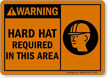 Warning: Hard Hat Required (graphic) Sign