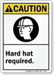Caution Hard Hat Required Sign with Graphic