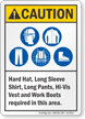 Hard Hat Long Shirt Pants Vest Boots Required Sign