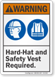 Hard Hat Safety Vest Required ANSI Warning Sign