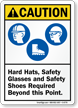 Hard Hats, Safety Glasses, Shoes Required Caution Sign