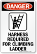 OSHA Ladder Harness Sign
