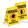 Caution Men Working & Hazardous Area Floor Sign