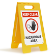 Keep Clear Hazardous Area W/Graphic Fold-Ups® Floor Sign