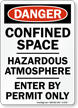 Danger: Confined Space Hazardous Atmosphere Sign