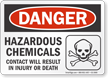 Hazardous Chemicals OSHA Danger Sign