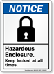 Hazardous Enclosure Keep Locked Always Sign