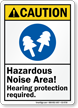 Hazardous Noise Area Hearing Protection Required Caution Sign