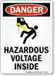 Hazardous Voltage Inside Sign