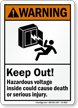 Keep Out Hazardous Voltage Inside, Cause Death Sign