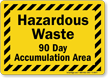 Hazardous Waste 90 Day Accumulation Area Sign