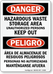 Bilingual Danger Hazardous Waste Storage Sign
