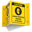 Caution Hearing Protection Required (Symbol) Sign