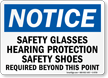 Safety Glasses, Hearing Protection and Shoes Required Sign