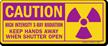Keep Hands Away When Shutter Open Radiation Sign