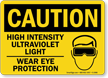 Caution High Intensity Ultraviolet Light Sign