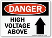 Danger High Voltage Above Sign