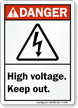 Danger (ANSI) High Voltage Keep Out Sign