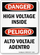 Danger High Voltage Inside Sign Bilingual