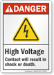 High Voltage Contact Could Result In Shock Danger Sign