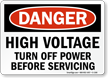 High Voltage Turn Off Power Danger Sign