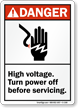 Danger ANSI, High Voltage Turn Power Off Sign